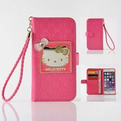 "Fashion Women Girl Lanyard Hello Kitty Flip Wallet Stand Leather Case For iPhone 6 6S 4.7"" / Plus 5.5"" With 6 Card Holders Cover"
