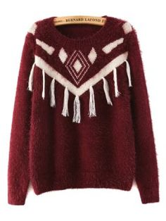 Shop Wine Red Geometric Pattern Knit Sweater With Tassel Detail from choies.com .Free shipping Worldwide.$30.39