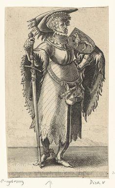 Adriaen Matham | Portret van Dirk V, graaf van Holland, Adriaen Matham, 1620 | Portret van Dirk V, graaf van Holland, staande in een harnas met op zijn schouder het wapen van Holland en in zijn hand een zwaard. Prent uit een serie van 36 prenten met portretten ten voeten uit van graven en gravinnen van Holland.