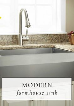 This beautiful farmhouse sink has an angled apron, making it an ideal addition to the modern kitchen. Pair it with a sleek faucet for a contemporary look.