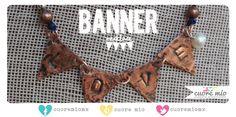 Collar banner de cobre, estampado a mano con la palabra LOVE.