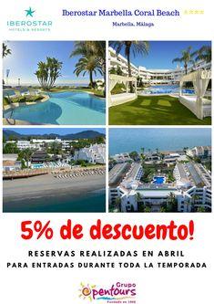 Hotel Iberostar Marbella Coral Beach **** (Marbella, Málaga, Andalucía, España) ---- 5% de descuento para estancias durante toda la temporada, para reservas realizadas en Abril. ---- Información y Reservas en tu - Agencia de Viajes habitual - ---- #iberostarmarbellacoralbeach #marbella #malaga #andalucia #ofertas2018 #verano2018 #escapadas #hoteles #vacaciones #ofertas #familias #niños #agentesdeviajes  #agenciasdeviajes #opentours #grupoopentours