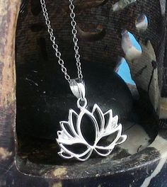Vibrant Blooming Lotus Necklace in Sterling Silver Fabric Flower Necklace, Lotus Necklace, Flower Jewelry, Diamond Flower, Lotus Flower, Simple Flowers, Silver Flowers, Flower Pendant, Sterling Silver Rings
