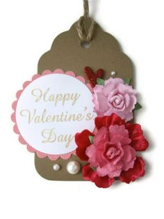 red flower tags valentine's day gift tags hand by JDooreCreations, $3.50