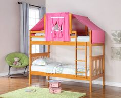 Get the most out of your space with our classic bunk beds for girls with a fixed ladder and pink tent. Our twin over twin bunk beds feature solid pinewood construction in an attractive honey finish, a