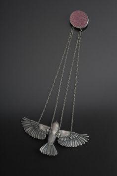 Art Jewelry, Yuri Tozuka, Companion, 2011, Sterling Silver, Fine silver, Brain Coral, Garnet, Onyx, photos by Dean Powell