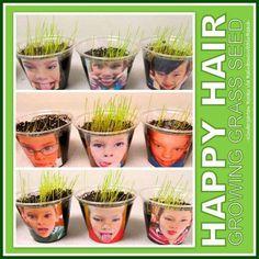 Happy hair: foto van de kinderen zonder haar erop, dit groeit in het bakje.