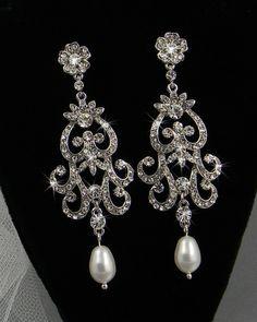 Bridal Chandelier earrings wedding jewelry Swarovski Crystal rhinestones and Pearls, Leah vintage style. $53.00, via Etsy.