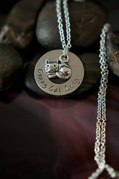 Handstamped Crazy Cat Lady Washer Necklace  by DistinctlyIvy