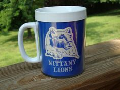 Vintage Penn State Nittany Lions Thermo Serv Insulated Coffee Cup Mug Blue&White #ThermoServ #PennStateNittanyLions