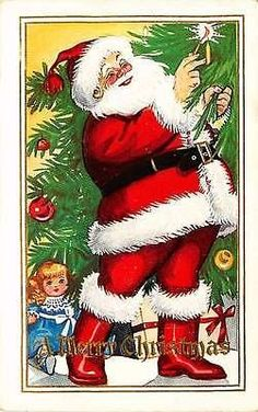 Christmas Santa 1920 Santa Claus Lights Candle Antique Vintage Embossed Postcard