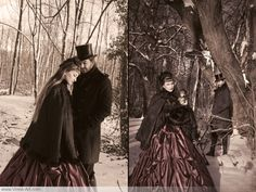 Victorian Romance // I'm not *entirely* certain why the woman is holding a doll in the 2nd picture, but still, lovely photo of a couple dressed in mid-1800s #Victorian style.