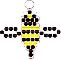 Instructions and Patterns for Pony Beads: Lady Bug, Bumble Bee and Gecko Pony Bead Patterns - Fun Activity for Kids.Bumble Bee Ponybead Pattern (could also make this into fire fly)pony bead bee - wings should be clear, i thinkSociety Of Arts And Crafts Pony Bead Projects, Pony Bead Crafts, Beaded Crafts, Diy Crafts Jewelry, Beading Projects, Jewelry Ideas, Beading Tutorials, Pony Bead Patterns, Beaded Jewelry Patterns