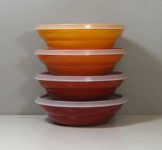 Tupperware 4 Cereal Bowls Harvest Colors with Lids 1970s on Etsy, $16.00