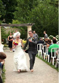 Barefoot down the aisle and off to the reception!