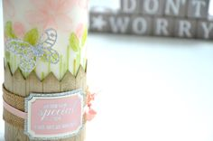 Sweet candle made using Garden in Bloom stamps set and silk paper #stampinup