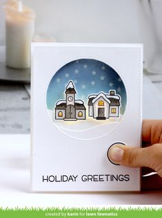 the Lawn Fawn blog: We Wish You a Very Fawny Holiday Week 2017 {day 1} Karin's beautiful Winter Village card has a bright surprise with Chibitronics light kit.
