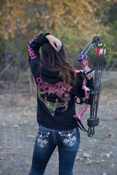 A great Trio, jeans a bow and a Country Life Hoodie to go! The Black and Pink Skull from www.countrylifeoutfitters.com