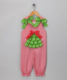 Red Ribbon Tree Overalls
