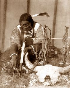 Medicine Man  My body is tired from the long hunt. My mind races with thoughts of the buffalo. The day is over so why doesn't the pain go away? I kneel down to intake the mystical herbs. My body's pain eases, and my mind goes to rest.