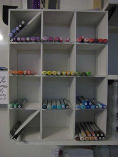 copic storage with markers2.JPG; DIY foam core marker storage unit