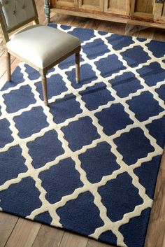 Homespun Moroccan Trellis Spa Blue Rug | Contemporary Rugs, wool, 5'x8', $150 (on sale) !