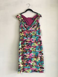 Adrianna Papell Size 12 Sleeveless Dress Multi Colors In Pink White,Blue, NWT #AdriannaPapell #SleevelessDress