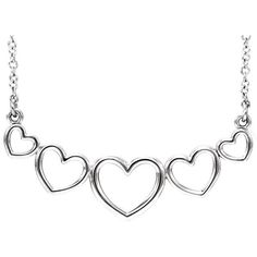 Sterling Silver 5 Graduated Heart Necklace Very Unique #BijouxMore #Necklace