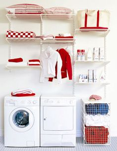 The elfa® utility or laundry room solution has drawers to help sort and organise lights and darks, plenty of ventilated shelves to store washing powder etc. and a closet rod to drip-dry clothes or hang ironed shirts etc. to keep them wrinkle-free.