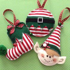 Navidad adornos de Elf - caprichoso y muy lindo Set de elfa adornos - hecho a mano y diversas formas de diseño. Se trata de un conjunto de 3, uno es una bola redonda elf, elf lindo deslizador y un rostro hermoso elfo. Todos los tres ornamentos hechos a mano de fieltro y tela también decoración con cintas - Pom Pom - jingle bells... Son tan adorables adornos perfectos para los amantes de un ELF para esta decoración de la Navidad esta temporada. Ideal para árboles de Navidad, guirnalda…