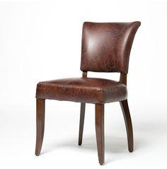 Mimi Biker Tan leather dining room chairs