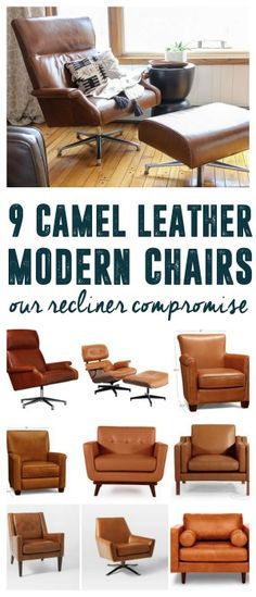 The Perfect Camel Leather Armchair, Modern Tan Leather Armchair, MCM Leather Chairs, Mid Century Leather Chair, www.BrightGreenDoor.com