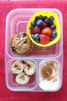 Whole Wheat Blueberry Muffin, Berries, Yogurt, Veggie Sushi Rolls