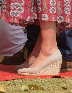 Kate debuted a new pair of shoes, the Fleur Wedges by Monsoon as she played cricket at Mumbai's iconic recreation ground, the Oval Maidan, during the royal visit to India and Bhutan on April 10, 2016 in Mumbai, India. The espadrille wedges feature an almond toe and gripped soles that ensure a comfortable stride.