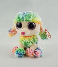 "6"" TY Beanie Boos With Tag Glitter Eyes Poodle Dog Rainbow Plush Stuffed Toys"