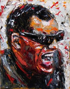 Ray Charles impressionist painting ar by Debra Hurd.wonderful depiction of the vibrancy of RC. The man could sing & he could make a piano play like nobody's business. Impressionist Paintings, Impressionism, Luigi, Art Music, Soul Music, Ray Charles, Celebrity Portraits, Heart Art, Vinyl Art