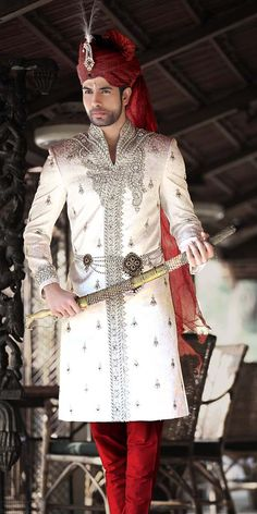Get off on men's sherwani.buy sherwani with our discount coupons codes… Sherwani Groom, Mens Sherwani, Wedding Sherwani, Tuxedos, Indian Groom Wear, Indian Attire, Indian Outfits, Wedding Dress Men, Wedding Men