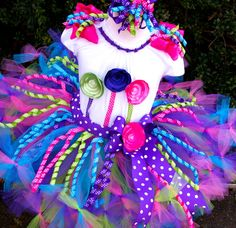 Candy Store LolliPOP Birthday Petti Tutu Outfit....Hot Pink, Turquoise, Purple, Lime..Tutu,Top, Bow...
