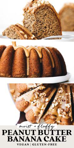 Clean Banana Bread, Banana Cake Vegan, Banana Bread Almond Flour, Banana Pound Cakes, Peanut Butter Banana Oats, Peanut Butter Banana Bread, Peanut Butter Dessert Recipes, Healthy Dessert Recipes, Vegan Desserts