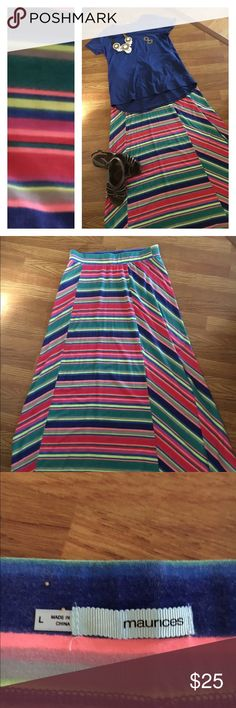 Bright stripped Maxi Super cool for summer great for spring and fall as well.  Super fun bright colors.  Only worn once. Maurices Skirts Maxi