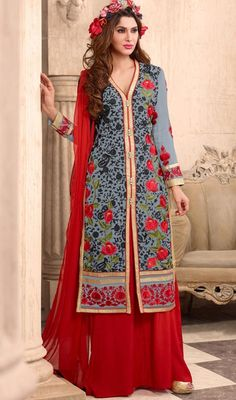 Be the one to define your own style wrapped in this gray and red color embroidered georgette palazzo suit. The lovely lace and resham work a substantial characteristic of this attire. #MelodicGrayFloralEmbroideredPalazzoSuit