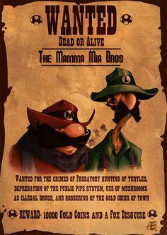 Wanted: Mario and Luigi by artist Eduardo Vieira Via:game-portal