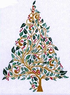 Christmas Tree 93 by Alessandra Adelaide Needleworks - Cross Stitch Kits & Patterns Cross Stitch Thread, Xmas Cross Stitch, Cross Stitch Alphabet, Cross Stitch Kits, Cross Stitch Designs, Cross Stitching, Cross Stitch Patterns, Stitching Patterns, Christmas Charts