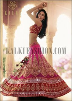 Rani pink embroidered lehenga by Kalki