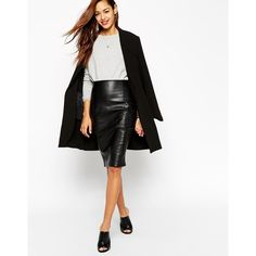 ASOS Pencil Skirt In Leather Look With Seam Details ($52) ❤ liked on Polyvore featuring skirts, asos, black, leather, pencil skirt, reversible skirt, faux leather skirt, high waist knee length pencil skirt, black high waisted skirt and zipper pencil skirt