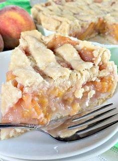 Mom's Peach Pie Stir peaches with sugar and UNBLEACHED flour, let sit out. Make Homemade Pie Crust. Placerolled out  dough in pie shell and dot pie with butter. Roll out top crust and cut into strips. Add peach mixture. Layer pieces of pie dough strips on top. Bake pie two to three hours at 300. The juices from the peaches will bubble up and look thick when the pie is done.