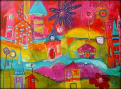 Colorful and bold Funky City Scape Acrylic House painting 30 x 40
