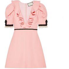 Gucci Crêpe Silk Wool Dress ($2,800) ❤ liked on Polyvore featuring dresses, pale pink, gucci dresses, ruffle dress, v neck dress, flutter sleeve dress and v-neck dresses