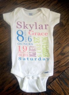 Personalized baby name birth announcement onesie on Etsy, $15.00