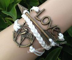 Mockingjay pin bracelet,leather couple bracelet,LOVE bracelet,charm jewelry,arrow Bracelet,catching fire bracelet,Hunger bird bracelet